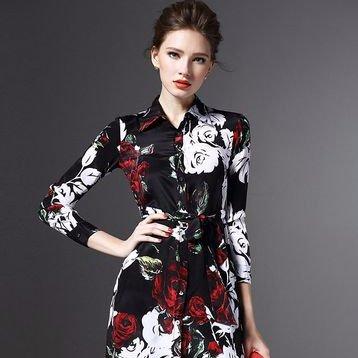 Áo nữ kiểu cổ bẻ dáng dài, in hoa,chất lụa 100%.