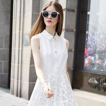 Đầm liền cổ bẻ ko tay dáng xòe kiểu váy organza.