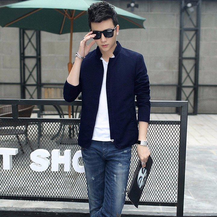 Áo khoác kaki nam giả vest màu xanh đen – B4188