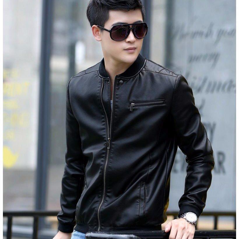 Áo khoác da nam cao cấp màu đen – A8793